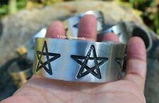 CUFF/BRACELET/BANGLE PENTAGRAM  Silver Pewter Unisex Mens/Womens Jewellery Wicca