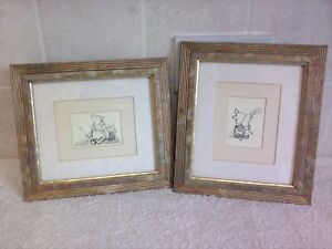 WINNIE THE POOH & PIGLET Sketch Drawings x2 By Manuscript Limited, England