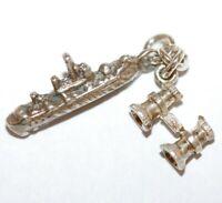Cruise Ship And Binoculars Sterling Silver 925 Vintage Bracelet Charm 3.2g
