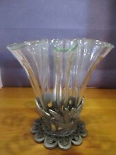 Fluted glass vase w/ hummingbird base, so elegant has a green tint to glass.