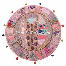 """32"""" Round Pouf Cover Patchwork Embroidered Cotton Baby Pink Floor Cushion Cover"""