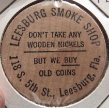 Vintage Leesburg Smoke Shop Leesburg, FL Wooden Nickel - Token Florida Buffalo