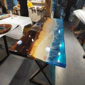 Acacia Tabletop Handmade Combined with Ocean Epoxy Resin River Art Outdoor Décor