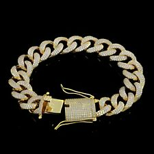 "Mens ICY Cuban Miami Link 8.5"" Bracelet 14k Gold Plated 15mm 20ct Lab Diamonds"