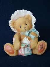 Cherished Teddies - Bobbie - Baby Bear With Block Figurine - 624896 - 1993