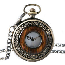 Antique Wood Grain Bronze Quartz Pocket Watch Fob Chain Steampunk Pendant Gifts