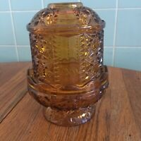 Vtg Amber Glass Fairy Lamp Indiana Stars Bars 2 pieces Candle holder tealight
