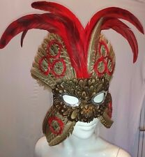 FEATHER MASQUERADE, MARDI GRAS, BIRD MASK. BROWN & RED 9413
