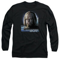 Star Trek TNG WORF Face Licensed Adult Long Sleeve T-Shirt S-3XL