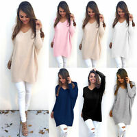 Women's V Neck Sweater Pullover Knitted Mini Dress Winter Jumper Tunic Long Tops