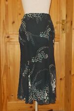 MONSOON charcoal grey teal turquoise floral SILK chiffon long party skirt 8 10