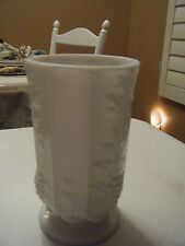 WHITE MILK GLASS VASE 6.25 X 3.75 SMOOTH TOP AND BOTTOM RAISED GRAPES ON SIDES