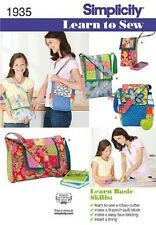 Simplicity 1935 Learn to Sew Paper Sewing Pattern Patchwork Quilted Bags