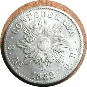 elf Argentina Cordoba Province 8 Reales 1852 Castle  Silver