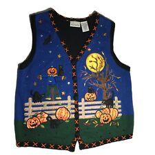 Halloween Sweater Vest Size Large - Scarecrow Pumpkins Jack O Lantern Black Cats