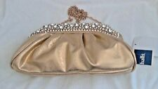 """NEW Gold Faux Leather Bag, 11""""x6"""",white Rhinestones, lined in satin"""