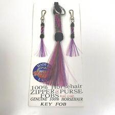 Vtg Hitched Horsehair Key Ring Zipper Pull Set Handmade Montana State Prison Art
