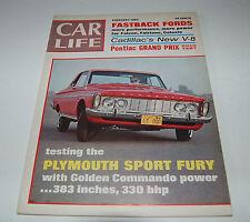 CAR LIFE MAGAZINE PONTIAC GRAN PRIX PLYMOUTH FURY FORD FASTBACKS FEBRUARY 1963