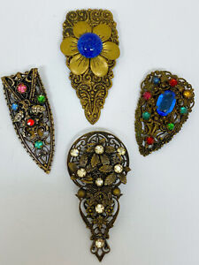 Collection of 1920's Czech Glass Filigree Dress Clips