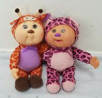 2 CABBAGE PATCH KIDS 2015/18 LEOPARD AND GIRRAFE KIDS VGC PUT THUMB IN MOUTH