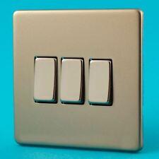 Varilight 3 Gang 1 or 2 Way 10A Rocker Light Switch Screwless Satin Chrome