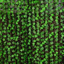 2,4 M Grün Künstliche Rattan Fake-Pflanze Efeu-Blatt Vine Fake Foliage Efeubusch