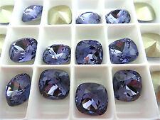 1 Tanzanite Foiled Swarovski Crystal Square Cushion Cut  Stone 4470 12mm