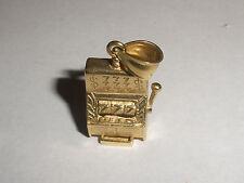 Vintage 3D Slot Machine Lucky 777 Gaming Casino 14K gold Charm Pendant 4.6 grams