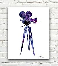 Vintage Movie Camera Abstract Watercolor Painting Art Print by Artist DJ Rogers