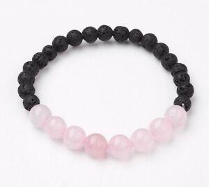 Rose Quartz Lava Bracelet Chakra Gemstone Crystal Bangle Pink Black Bead Stone