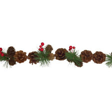 Pine Cone & Red Berries Christmas Garland – Artificial Decoration Fir 160cm