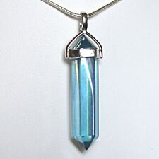 Aqua Aura 925 Silver Point Pendant Natural Quartz Crystal W Gold Reiki Balance