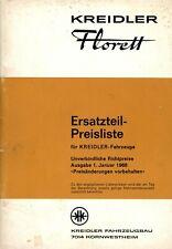 Kreidler Florett 1968 Erzatzteil Preisliste
