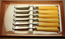 Vintage Sheffield 6 Steak Knife Set Yellow Handle Serrated Stainless Holster NOS