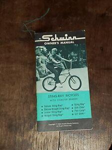 1968 SCHWINN Stingray Owner's Manual Hang Tag-Deluxe, Midget, Junior, Slik Chik