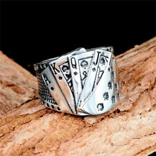Men's Women Ancient silver Playing cards Rings Unique Design best gift Size 13