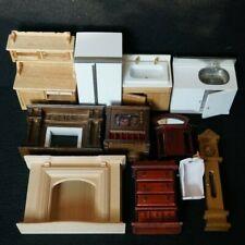 Vintage LOT Old Miniature Dollhouse Furniture Wood Fridge Clock TV Kitchen Sink