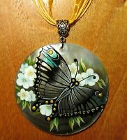 Shell pendant Genuine Russian hand painted Butterfly & Flowers Black Lip GIFT