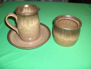 Vintage 3 Pc Sugar Creamer Saucer Denby-Langley China Pottery Romany-Brown NICE