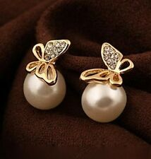 Fashion Women Crystal Golden Butterfly Imitation Pearl Ear Stud Earrings Gift