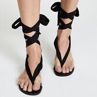 FREE PEOPLE Barcelona Black Ankle Tie Sandals Clear Strap sz 38 7.5 US