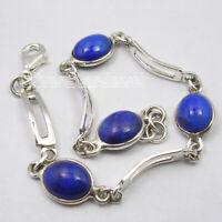 Solid Sterling Silver Pear Shape Navy Blue Lapis Lazuli Link Bracelet