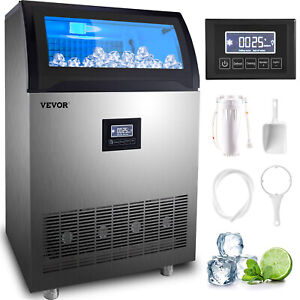 VEVOR 200 LBS Built-In Commercial Ice Maker Ice Cube Machine Transparent Window