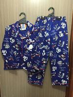 BNWT Boys Sz 14 Under Cover Crew Blue Robot Long Flannel Knit Winter Pyjamas