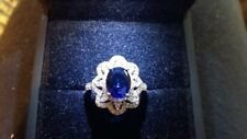 Ring size L  White Gold Blue Oval Sapphire & Diamonds Cluster Holiday Gift 925