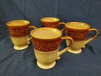4 BETTER HOMES AND GARDENS EMBOSSED SCROLL BROWN & TAN 16 oz MUGS. EUC!
