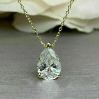 3Ct Brilliant Pear Cut Diamond Solitaire Pendant Necklaces 14K Yellow Gold Over