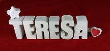 Beton, Steinguss Buchstaben 3D Deko Namen TERESA als Geschenk verpackt!