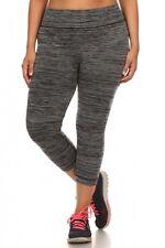 Womens Plus Size Active Wear Yoga Pants Space Dye Short Workout Capri Leggings