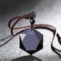 Natural Black Obsidian Hexagram Pendant Necklace Sweater Chain Blessing Jewelry